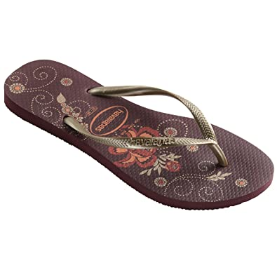 fa6b135badb6be Havaianas Womens Slim Organic Jelly Rubber Floral Thong Strap Flip Flops -  Grape Wine - 8