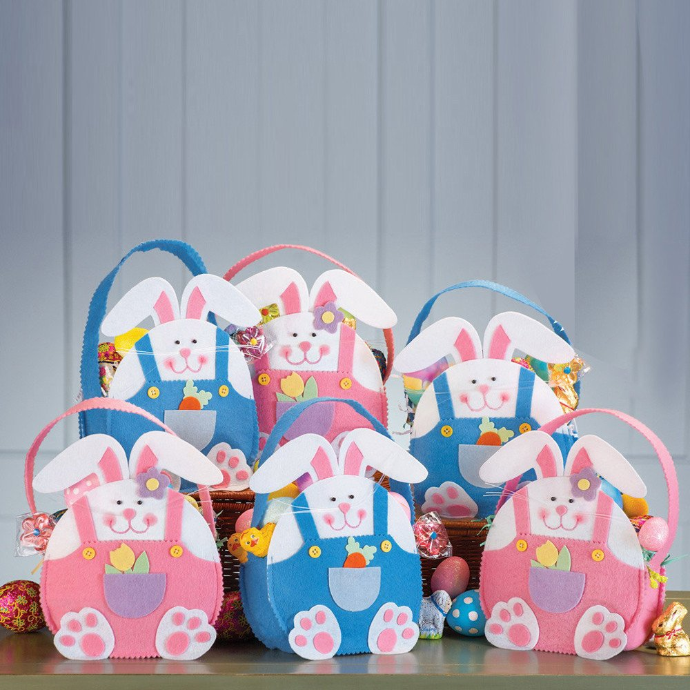 Easter Rabbit Gift Candy Bag Bunny Basket Cute Present Handbag Home Accessory for Children Kids Wedding Party (Blue) by Codiak-Organizers (Image #2)