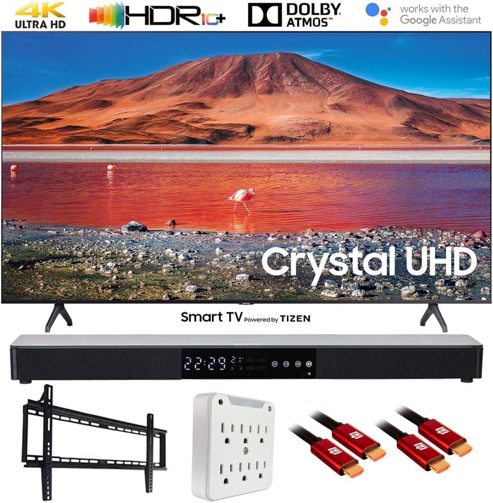 """SAMSUNG UN43TU7000 43"""" 4K Ultra HD Smart LED TV (2020) with Deco Gear Soundbar Bundle"""