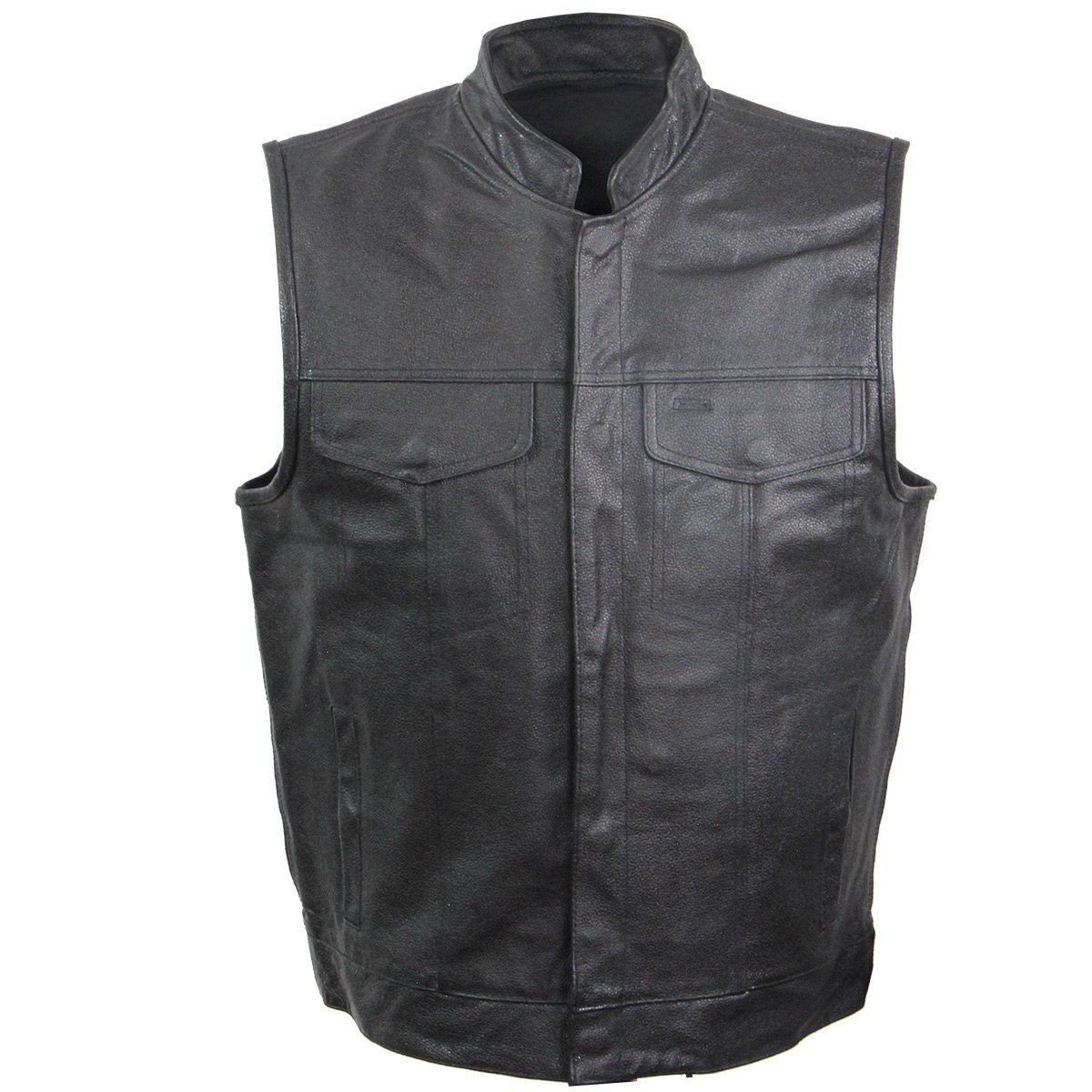 USA VC205 Mens Leather Rumble Vest with Gun Pocket - X-Large