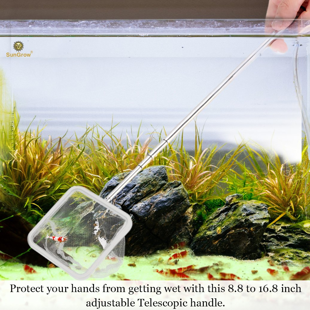 betta and guppies Soft woven Fishing Net SunGrow Shrimp Net Easily catch shrimp Professional Grade Stainless Steel Telescopic handle Safe for All Aquatic pets