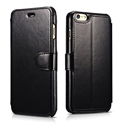 separation shoes 82ccb 79b9b iPhone 6s /6 Leather Case, Xoomz Premium Vegan Leather Side Open Wallet  Cases with 3 Card-slot, Flip Folio Style with Magnetic Strap with Stand ...