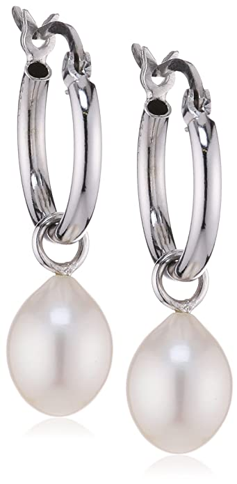 Sakura Pearl High Lustre White 8.5 mm Teardrop Freshwater Pearl Sterling Silver 925 Creole Earrings