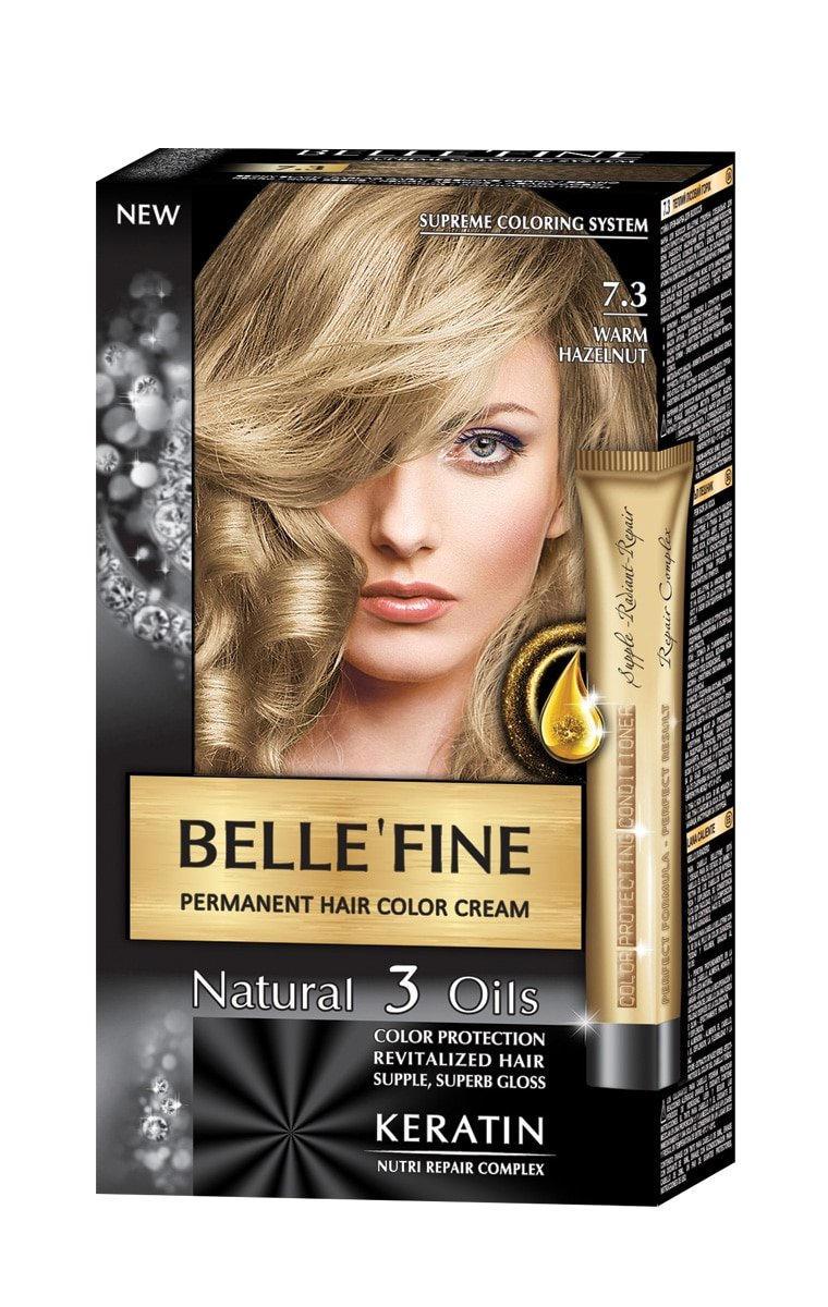 BELLE\'FINE Black Series Luxury Natural Permanent Hair Colour Cream Dye with  3 Oils and Keratin Ebony Black