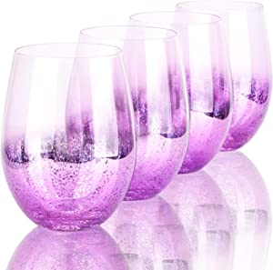 Purple Drinking Glasses, Beasea 18.6 oz Beverage Glass Set of 4, Cocktail Glasses Shiny Beer Glasses Beverage Tumbler for Water Juice