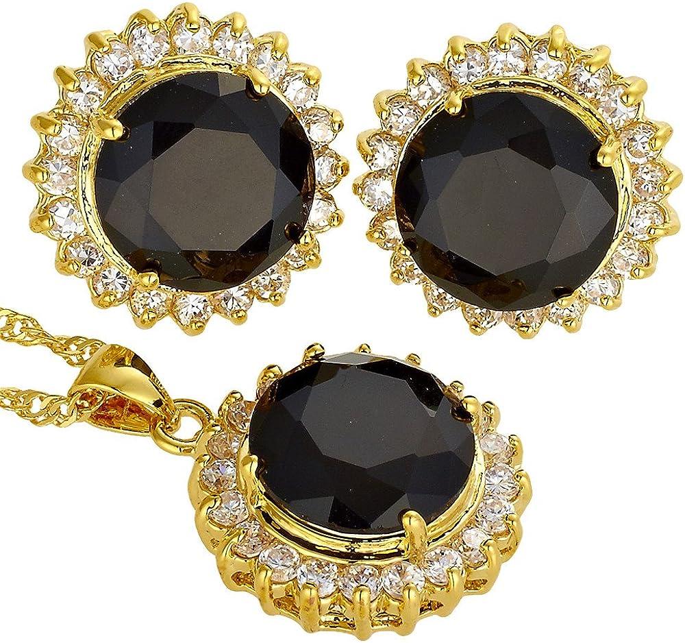 Collar Ronda Colgante Pendientes de piedras preciosas de oro chapado Joyer¨ªa Set