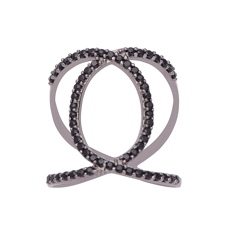 925 Sterling Silver Women Wedding Engagement Ring Black Spinel Gemstone