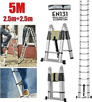 2,5+2,5m 16 Sprossen 5 M Teleskopleiter Leiter Aluleiter 2 in 1 Multifunktionsleiter Klappleiter 150 kg Belastbarkeit