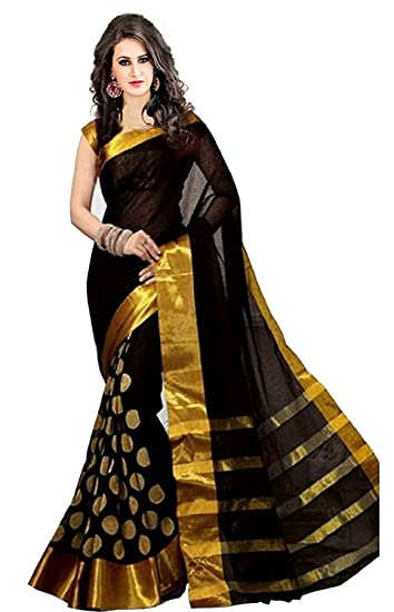 c12d962d9f663 Saree ( Saibaba Online Cotton Silk Saree Black Round Black And Gold With  Blouse Pics)  Amazon.in  Clothing   Accessories