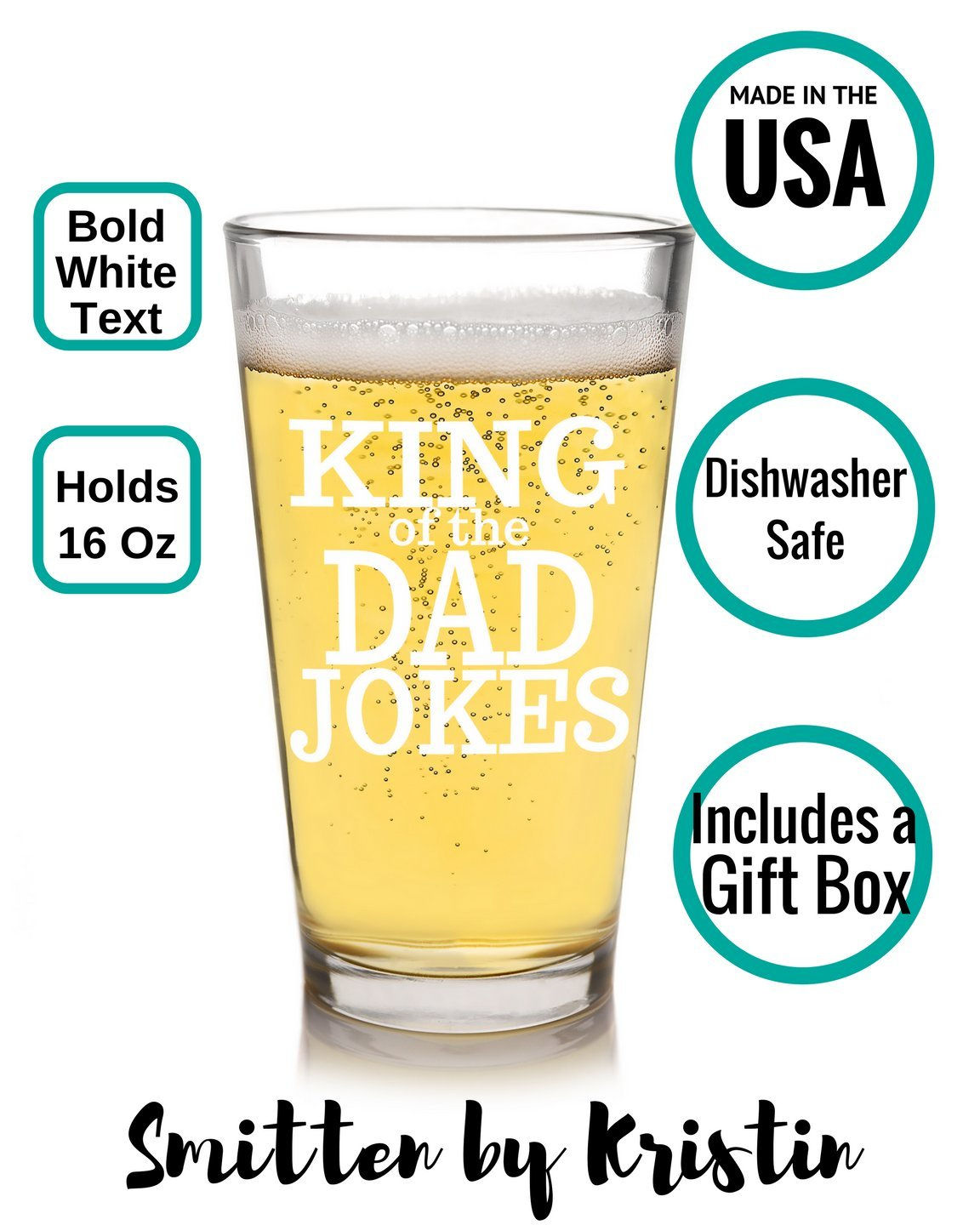 King of Dad Jokes Beer Glass - Funny Father's Day Gift for