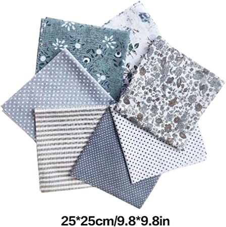 LUFA 7pcs algodón de Tela de Flores Punto Estrella DIY algodón Acolchado Paquete de Tela para Patchwork artesanías de Tela: Amazon.es: Hogar