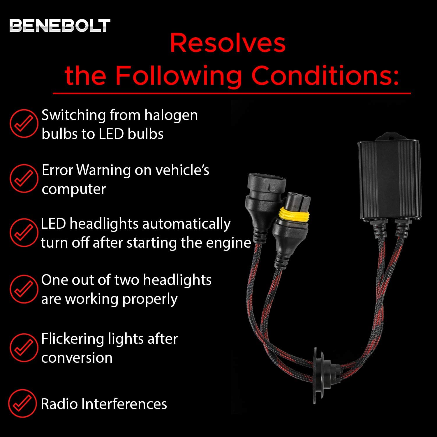 Box of 2 Error Free for LED headlight bulb Solves CANBUS related problems and radio interferences 9005 9006 9012 LED Decoder Adaptor with Anti Flicker Resistor 2020 Benebolt 2 Years Warranty