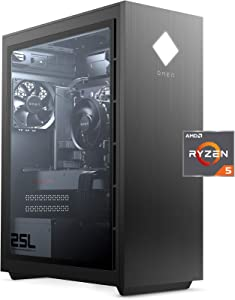 OMEN 25L Gaming Desktop PC, AMD Radeon RX 5500, AMD Ryzen 5 3500, HyperX 8GB DDR4 RAM, 512GB PCIe NVMe SSD, Windows 10 Home, VR Ready, RGB Lighting (GT12-0010, 2020 Model)