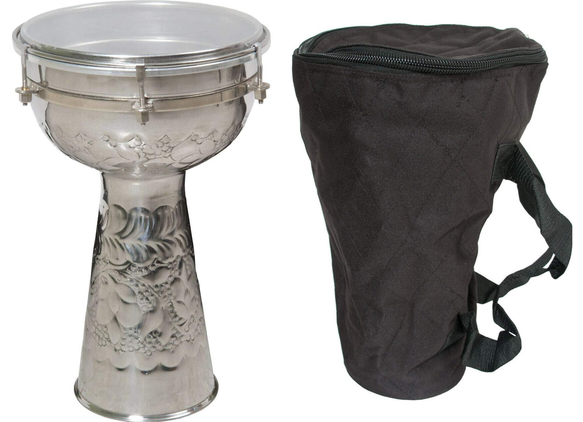 Mid-East Metal Doumbek Drum w/Gig Bag - 14 x 8'' by Mid-East