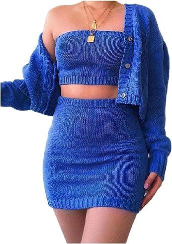 Doufine - Conjunto de 3 Piezas de Falda Corta Sexy para Mujer Azul ...
