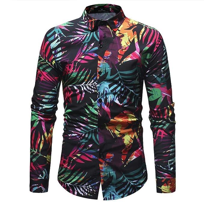 b636f79a12967d Camicia Floreale Hawaiana Uomo Maniche Lunghe LandFox Slim Fit Camicie  Casual da Uomo Manica Lunga Stampa