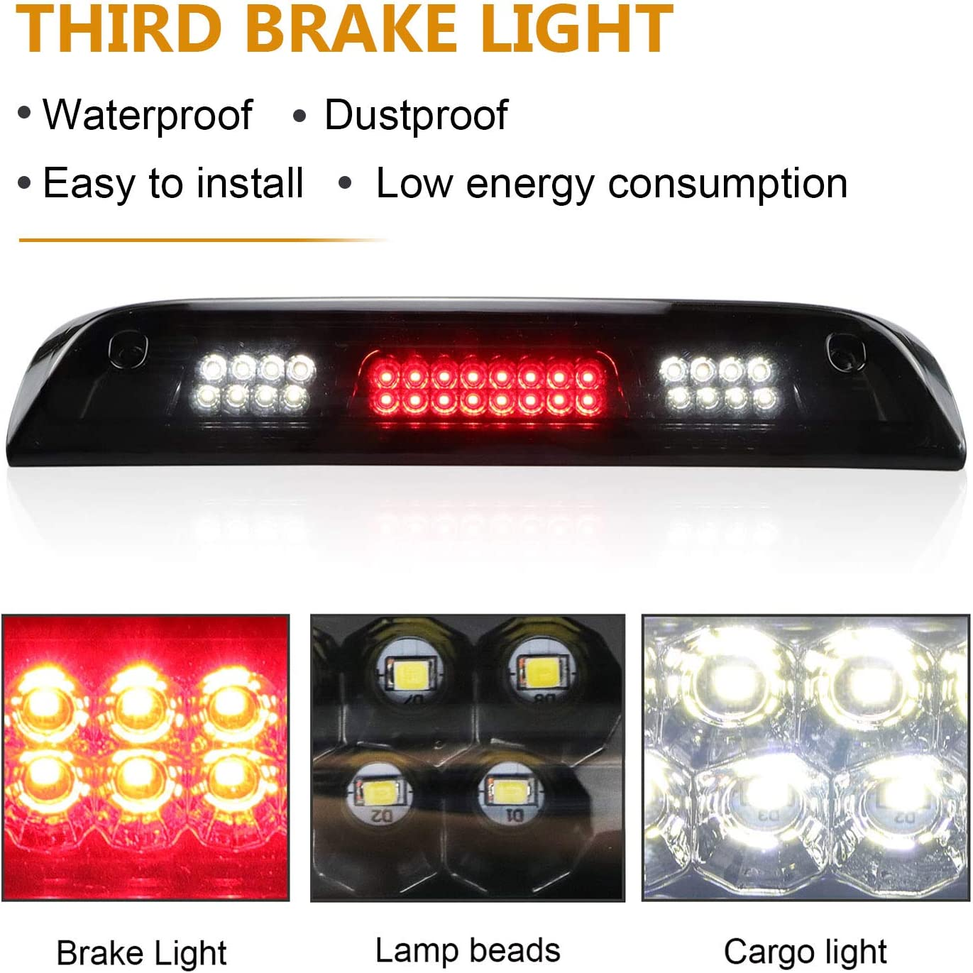 Cargo Light Center High Mount Lamp Light LED Third 3rd Brake Light Compatible With 14-18 GMC Sierra Chevy Silverado 1500 2500 HD 3500 HD Smoked Lens