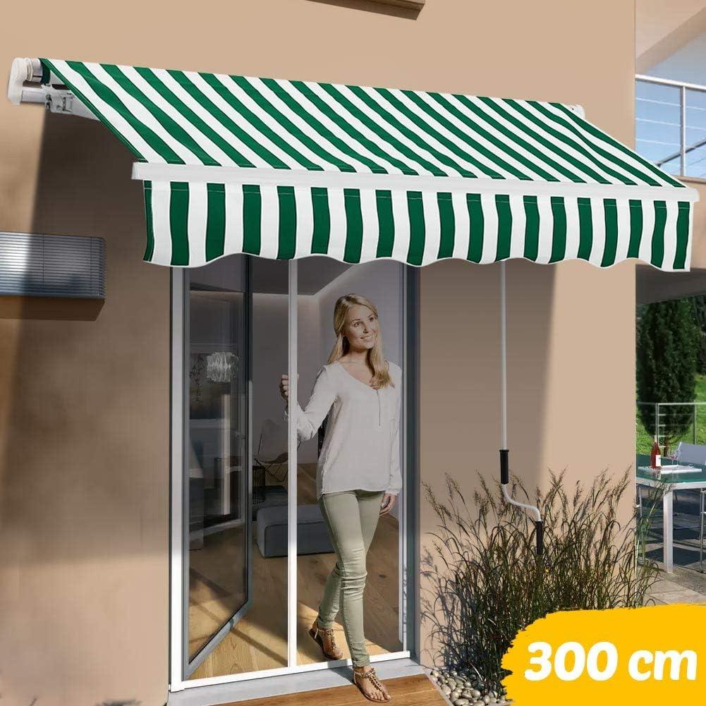 BAKAJI Tenda da Sole Balcone a Bracci Estensibili Parasole Avvolgibile Esterno Giardino a Manovella Telaio in Alluminio Dimensione 300 x 200 cm Verde Bianco