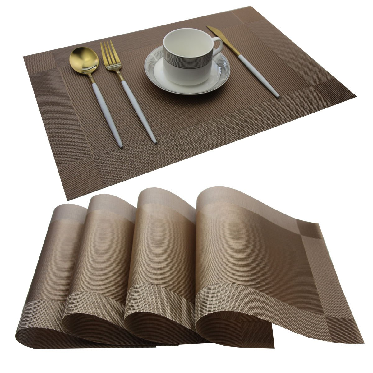 Bright Dream Placemats Washable PVC Placemats Plastic Wipe Clean for Kitchen Table Stain-resistand Woven Vinyl Wine Table Mats 12x18 inches Set of 4(Champagne)