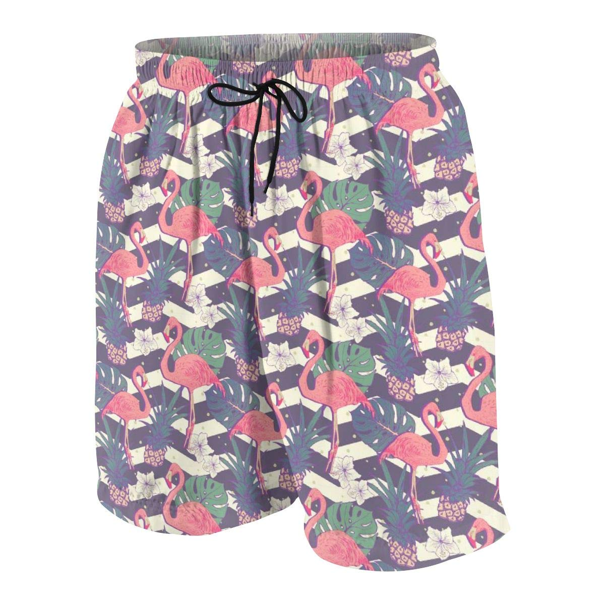 Man Board Shorts Swimtrunks Two Flamingo Novelty Surfing Beach Summer Outfit Pants