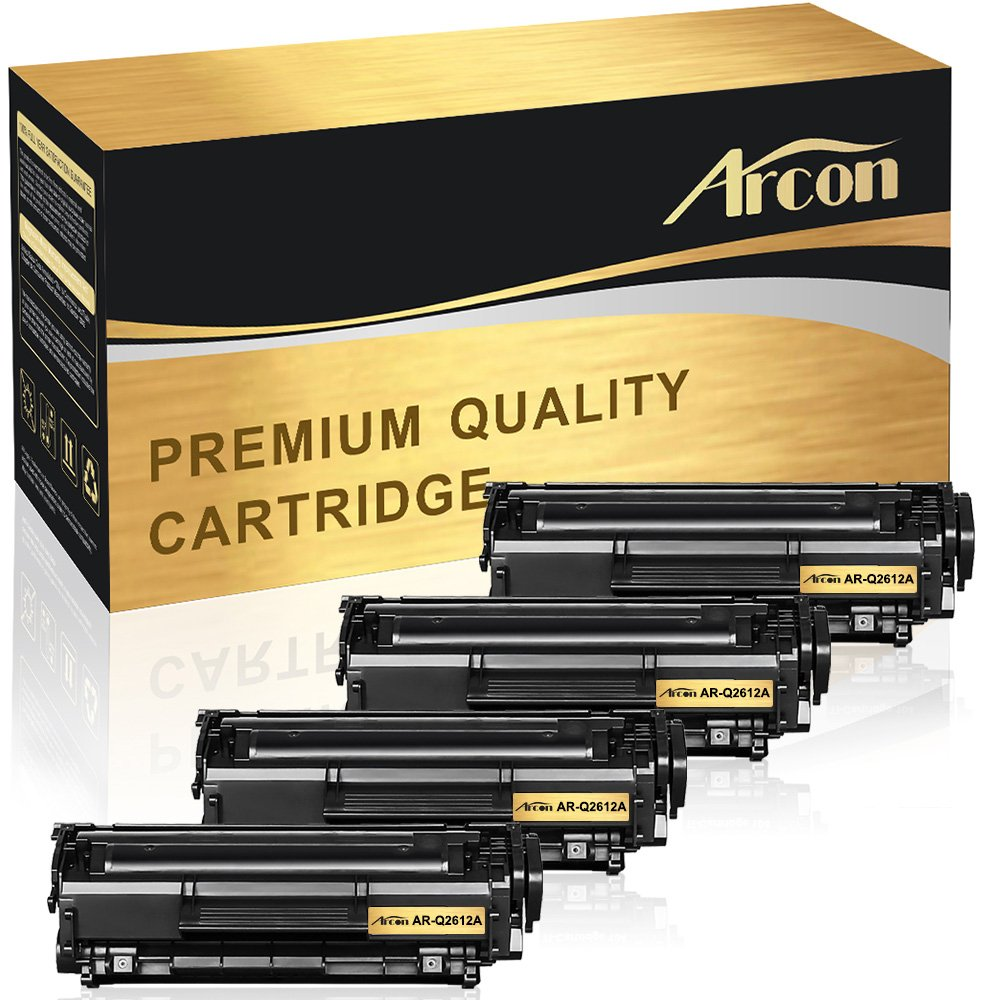 Arcon 4 Pack Compatible For Hp 12a Canon 104 Q2612a Toner Cartridge Laserjet 1018