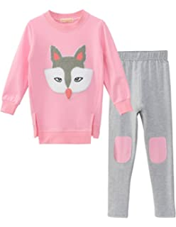 6 years old, Pink Winter Kids Clothes Set Baby Girls Pullover Sweatshirt Tops Skirt Outfit