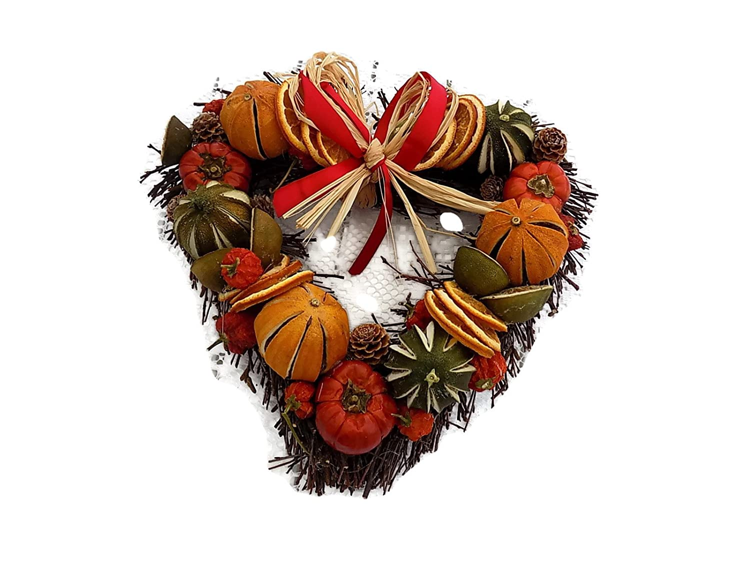 Christmas Scented Fruit Wreath Heart Shaped with red Ribbon 28 cm Creative Crafts