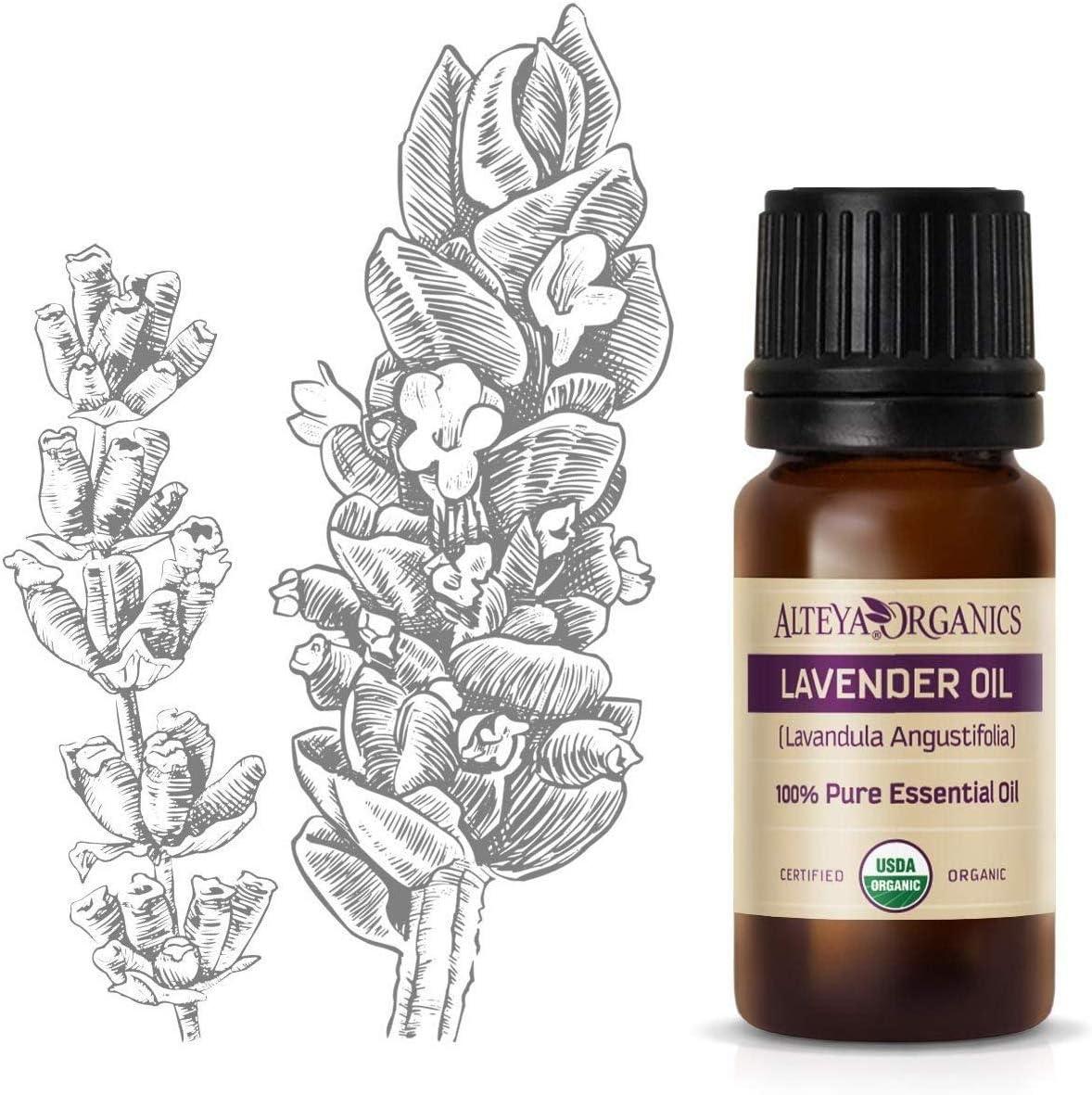 Aceite esencial orgánico de lavanda (Lavandula angustifolia) marca Alteya, de 10ml. Con certificación orgánica USDA, 100% puro y auténtico, natural, destilado al vapor de flores de Lavandula Angusti
