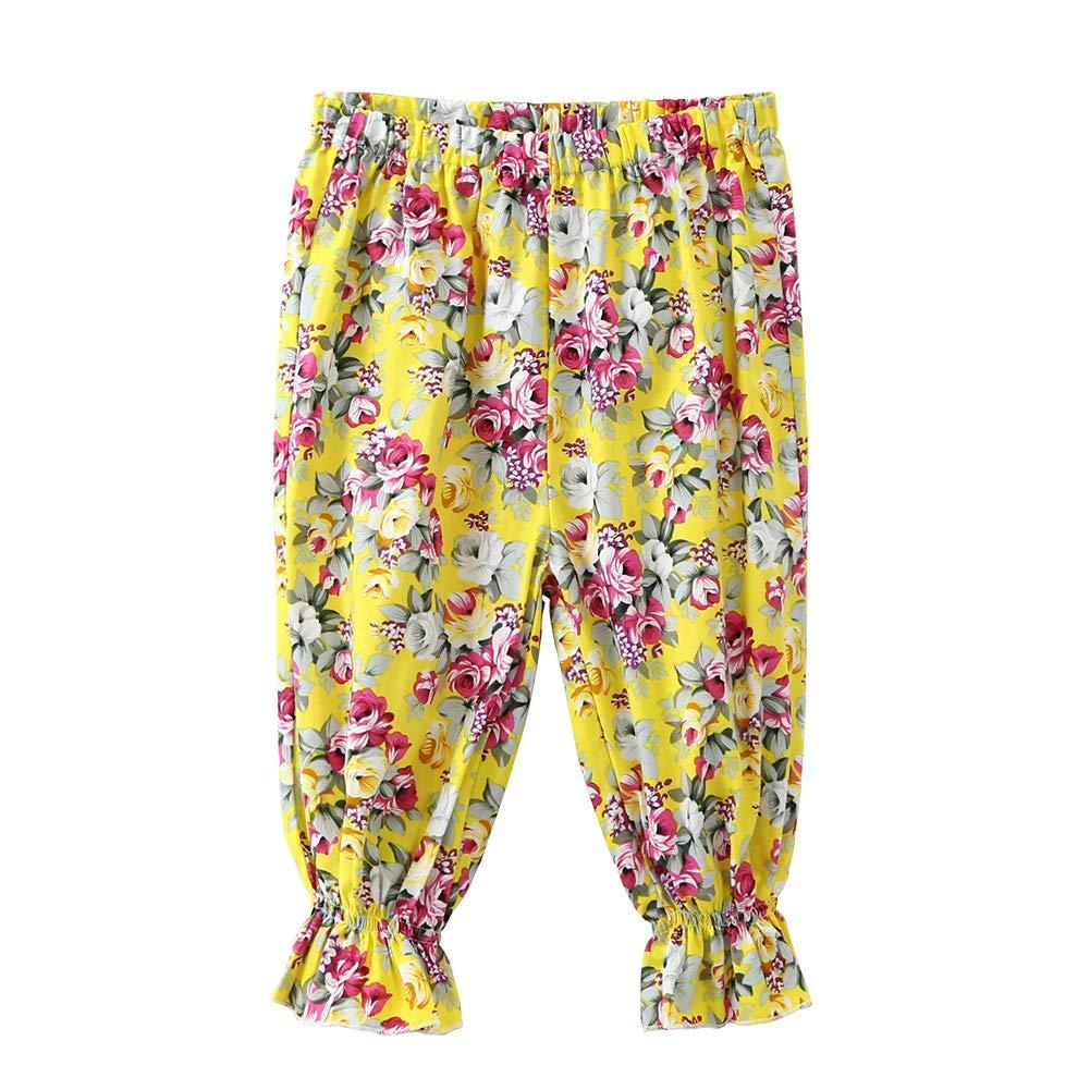 Kid Baby Girl Floral Croped Pants Elastic Waist Capris Trouser (1-2 Years, Yellow)