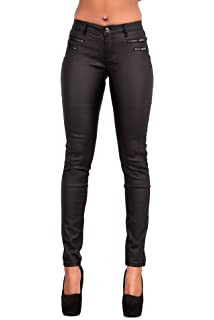 Womens Black High Skinny Look Leather Glossy Wet Fit Waist Trousers Rise UK 6-14