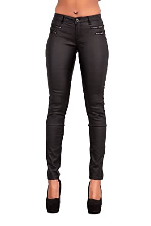 07594e21bbbd4 Womens Leather Look Trousers Wet Look Leggings Slim Fit Jeans Sizes ...
