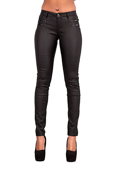 bae3fd7d491 Womens Leather Look Trousers Wet Look Leggings Slim Fit Jeans Sizes 6 8 10  12 14  Amazon.co.uk  Clothing