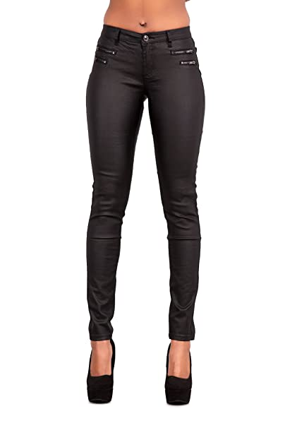 reliable reputation save off latest collection Womens Leather Look Trousers Wet Look Leggings Slim Fit Jeans Sizes 6 8 10  12 14