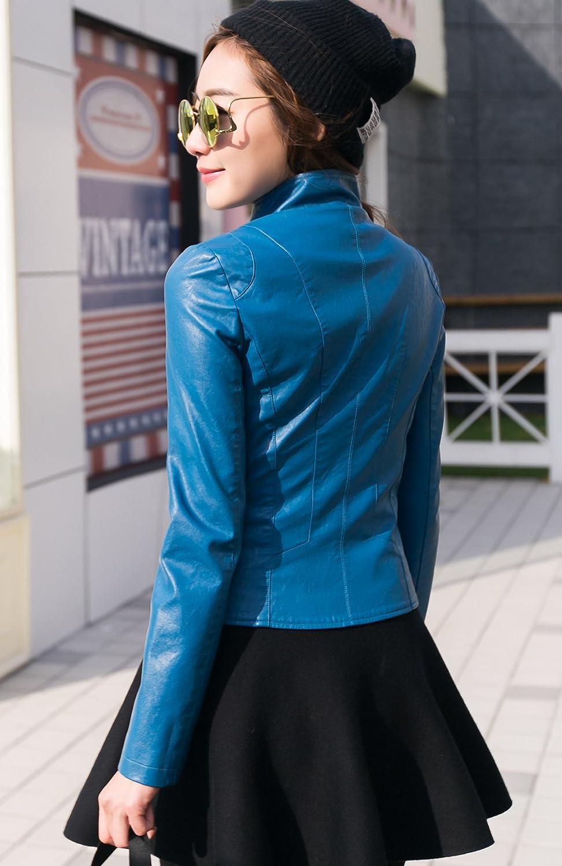 chouyatou Womens Stylish Oblique Zip Slim Faux Leather Biker Outerwear Jacket