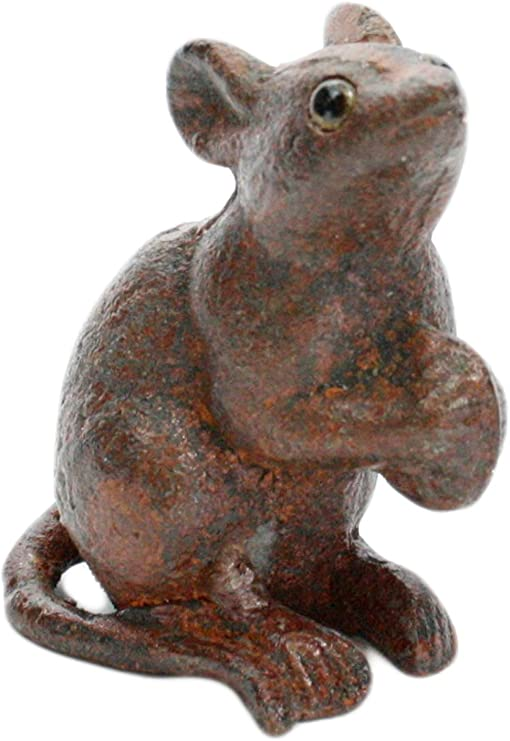 Cast Iron Rat Figurine Bookend Antique Rust Statue Ornament Mouse Paperweight