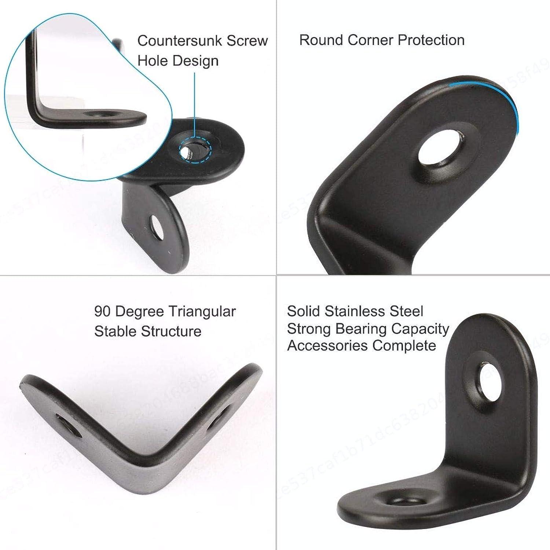 UKCOCO 20 piezas de 2 mm de /ángulo de 90 grados gruesas de acero inoxidable 40x40 mm soportes de refuerzo de esquina con 80 piezas de tornillos 4x16 mm