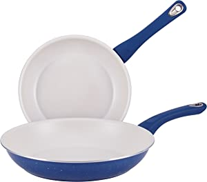 Farberware 16276 New Traditions Nonstick Frying Pan Set / Fry Pan Set / Skillet Set - 9.25 Inch and 11.5 Inch, Blue
