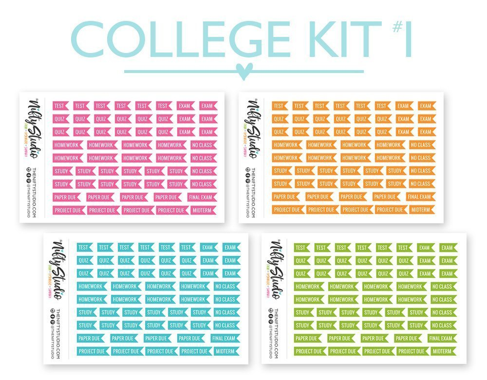College Kit Stickers | Planner Stickers Bundle | The Nifty Studio [CKIT1]