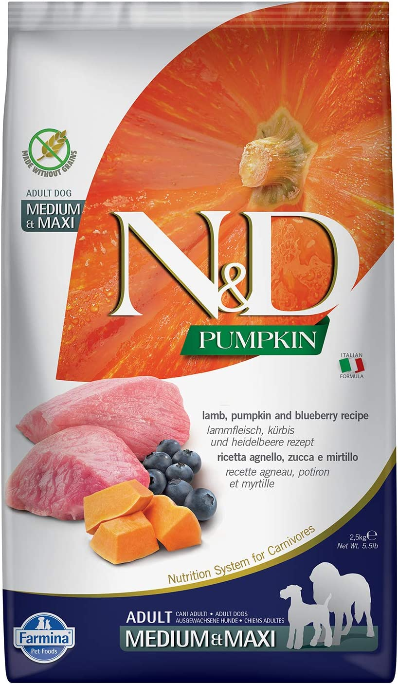 Farmina N&D Dog Dry Grain Free Pumpkin Medium/Maxi Lamb & Blueberry 5.5 Pounds