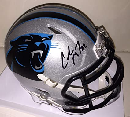 67a9a8b9da9 Christian Mccaffrey Autographed Signed Carolina Panthers Mini Speed Helmet  Autographed Signed Bas