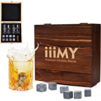 Whisky Stones and Glasses Gift Set, Whisky Rocks Chilling Stones in Handmade Wooden Box– Cool Drinks without Dilution – Whisky Glasses Set of 2, Gift for Dad, Husband, Men – iiiMY