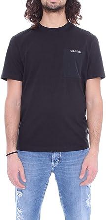 Calvin Klein Hombres - Camiseta de bolsillo (algodón orgánico), color negro: Amazon.es: Ropa y accesorios