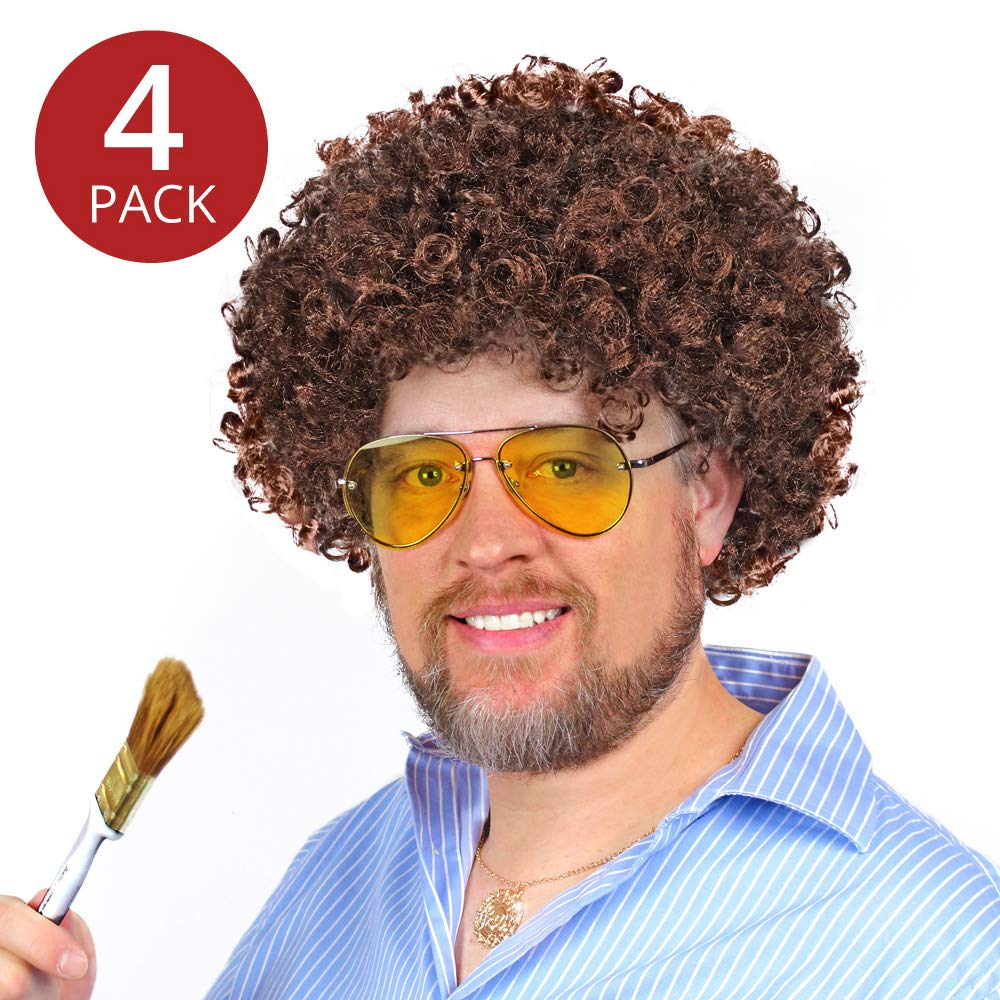 Bob Ross Wigs (Set of 4) - Brown Afro Wigs for Men, Women, and Kids Costume, Party, Play - by Prime Party