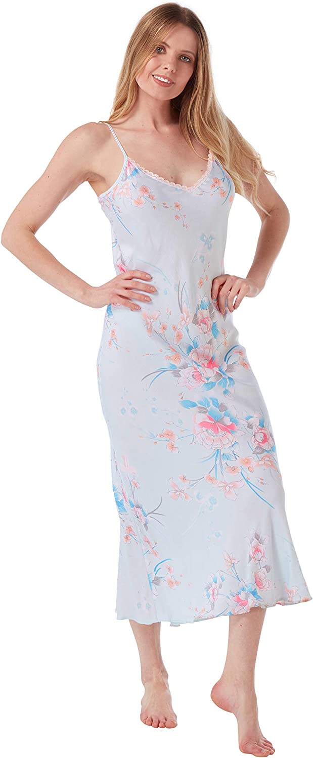 i-Smalls Ladies Cotton Lace Strappy Long Floral Summer Nightdress Chemise