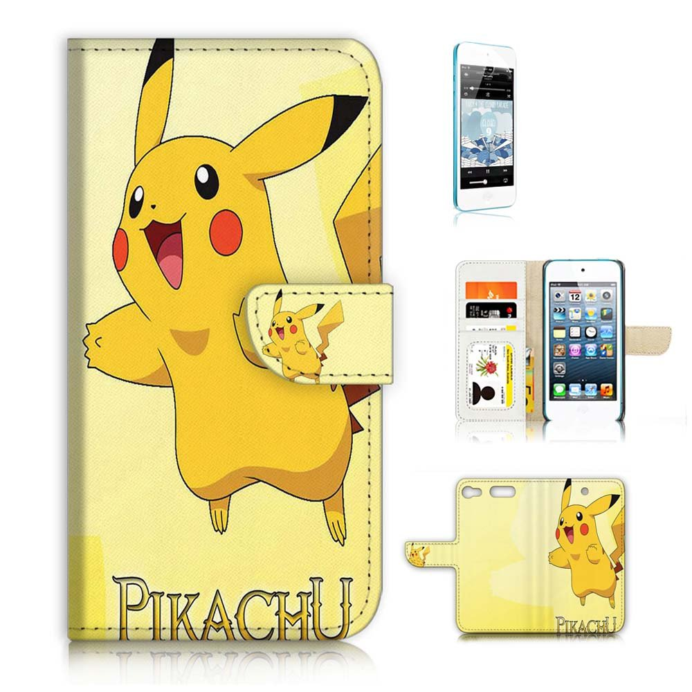 ( For iPod Touch 6 iTouch 6 ) Flip Wallet Case Cover & Screen Protector Bundle! A20031 Pokemon Pikachu