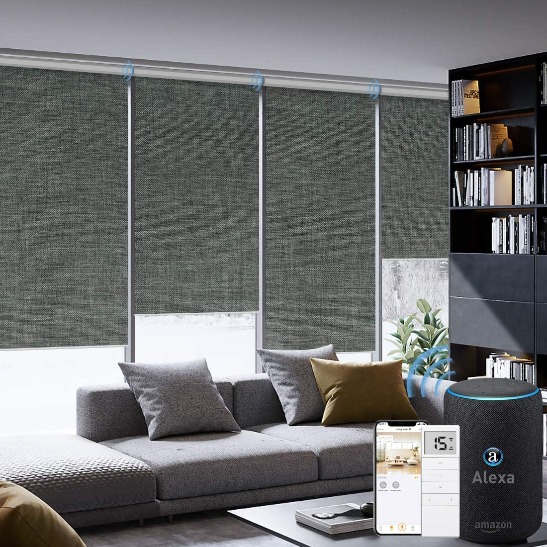 Graywind Motorized Roller Shades 100 Blackout Remote Alexa Voice Control Insulated Triple Weaved Fabric Window Blinds with Valance for Smart Home Office, Customized Size, Dark Grey