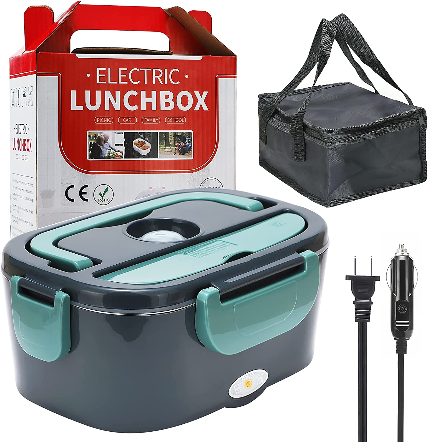 Electric Lunch Box, ENFOURCLASS 2 in 1 Portable Food Heater, 1.5L Portable Lunch Containers, Includes 2 Compartments and Stainless Steel Spoon & Fork, 12V/110V, Food Warmer for Car/Home