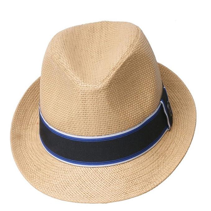 a67538912f4 Straw Jazz Hat Men Women Boys Girls Retro Ribbon Summer Sun Hat ...