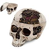 7.25 Inch Mechanical Steampunk Open Skull Box Statue Figurine