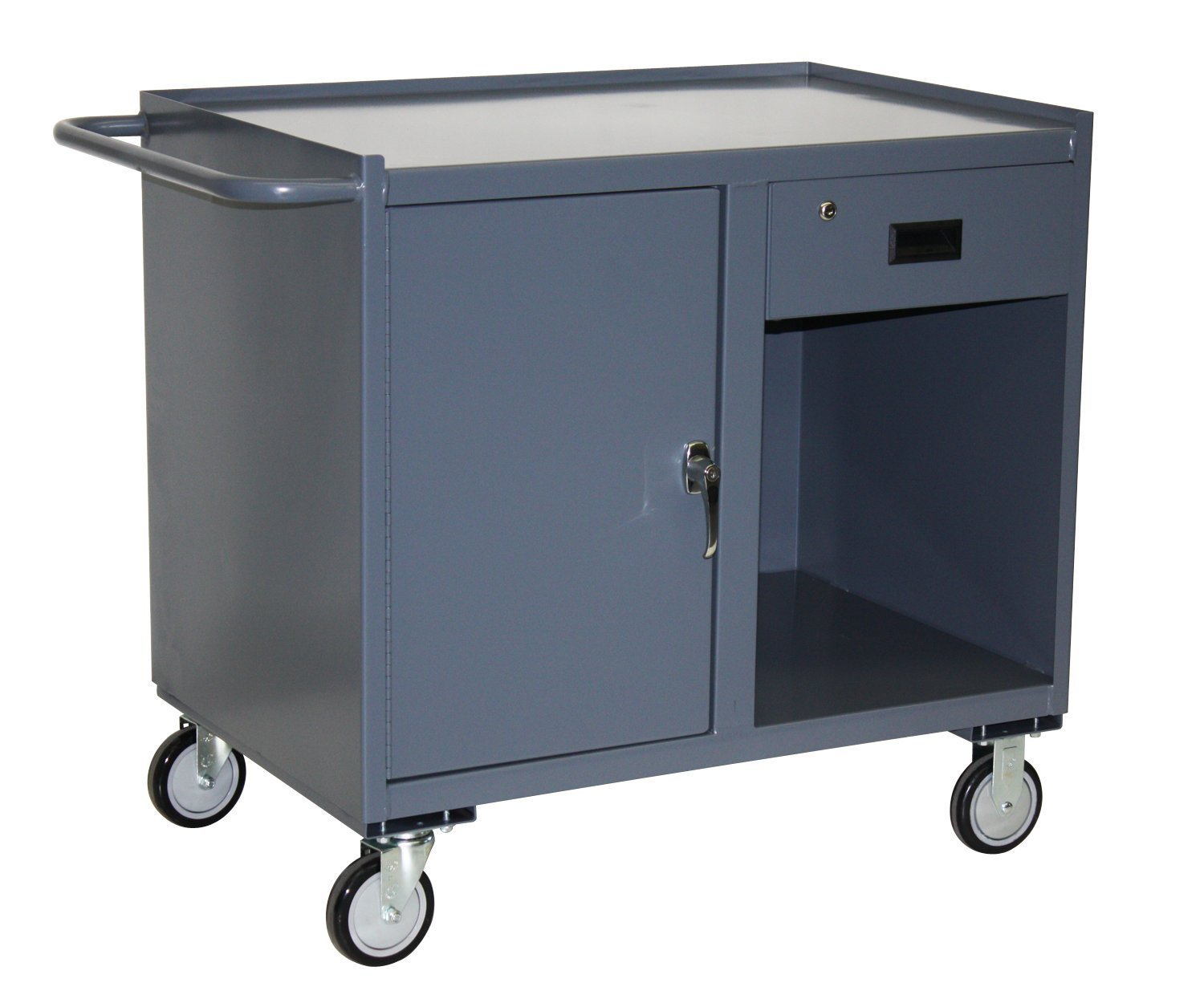 Jamco Products Inc JE136-U5-GP Mobile Cabinet with One Drawer & One Door 18 x 36, with 5 inch x 1 4 inch Urethane Casters, Two Rigid, Two Swivel, Powder Coated Gray,